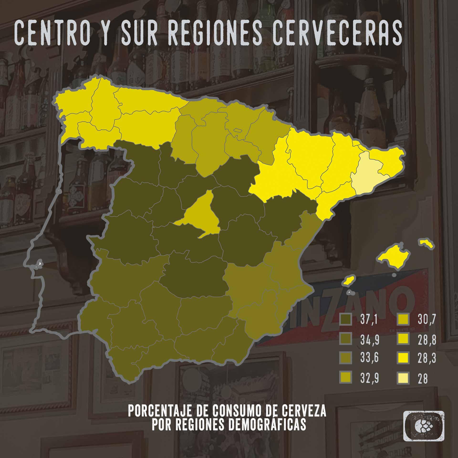 Porcentaje de consumo de cerveza en regiones de España